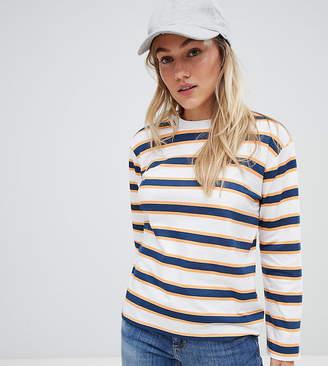 Asos DESIGN Petite long sleeve t-shirt in retro stripe
