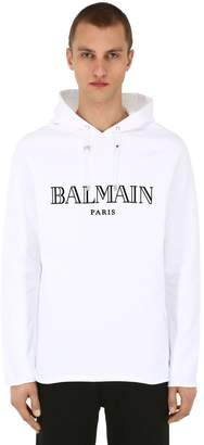 Balmain Flocked Cotton Jersey Sweatshirt Hoodie