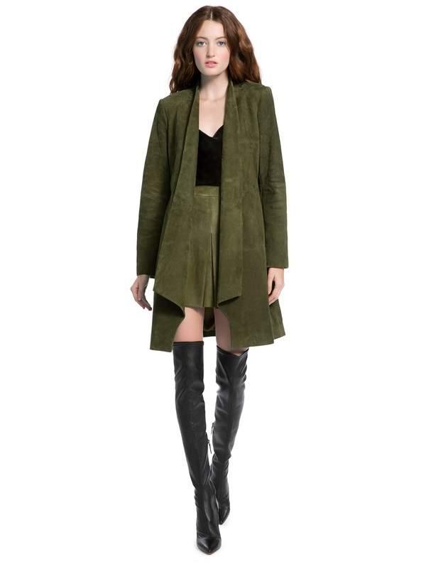 Alice + Olivia Alice + Olivia | Logan Suede Drape Collar Coat | S | Green