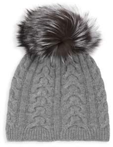 Saks Fifth Avenue BLACK Fox Fur & Cashmere Knit Beanie