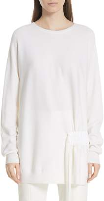 Tibi Side Shirred Merino Wool Tunic Sweater