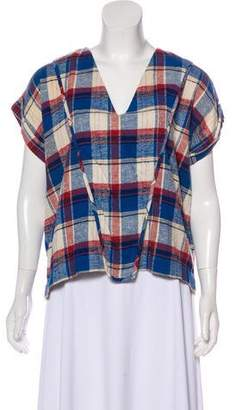 Creatures of Comfort Distressed Plaid Top