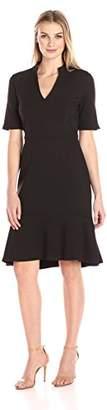 Lark & Ro Women's 3/4 Sleeve Mock Collar V-Neck Dress