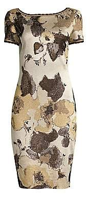 St. John Women's Gold Leaf Jacquard Knit Dress