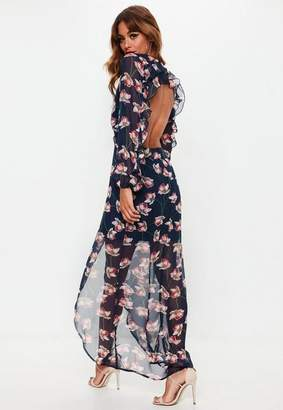 Missguided Blue Floral Open Back Maxi Dress