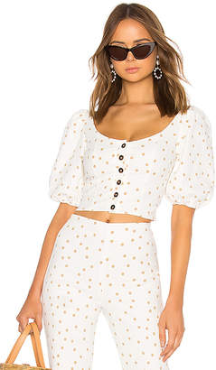 LPA Polka Dot Button Up Top