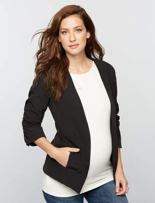 Willow & Clay Willow&Clay Open Front Crepe Maternity Blazer