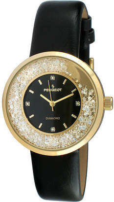 Peugeot Womens Diamond-Accent Black Leather Strap Watch 3041GBK