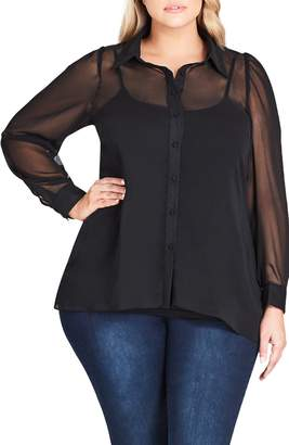 City Chic Dynamic Sheer Blouse
