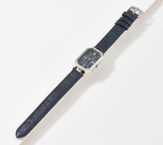 Isaac Mizrahi Live! Metallic Leather Strap Octagon Watch