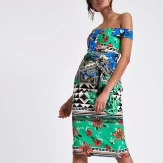 River Island Womens Green blossom print bardot midi dress