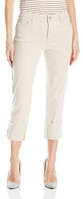 Bandolino Women's Womans Millie Straight Leg Cuffed Capri with Frayed Hem