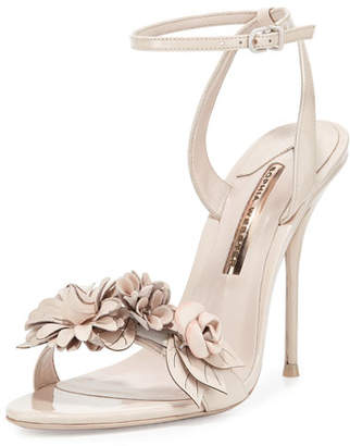 Sophia Webster Lilico Floral Leather 105mm Sandal, Nude