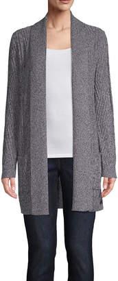 ST. JOHN'S BAY Womens Long Sleeve Open Front Cardigan-Tall