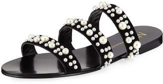 Neiman Marcus Prince Pearlescent Suede Slide Sandal