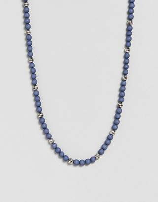 ICON BRAND Beaded Necklace In Marble Blue Exclusive To ASOS