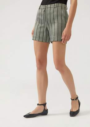 Emporio Armani Striped Fabric Shorts With Lurex Yarn