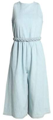 Valentino Open-Back Cotton-Chambray Jumpsuit