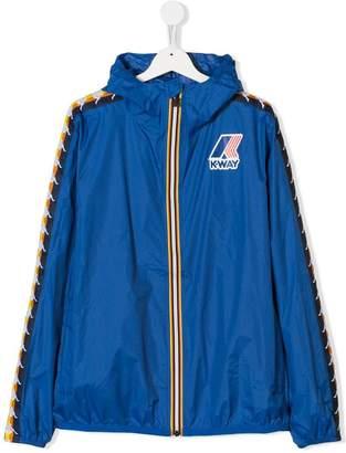 K Way Kids TEEN K Way x Kappa logo trim rain jacket