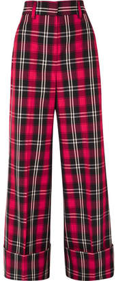 MSGM Tartan Twill Wide-leg Pants - Red