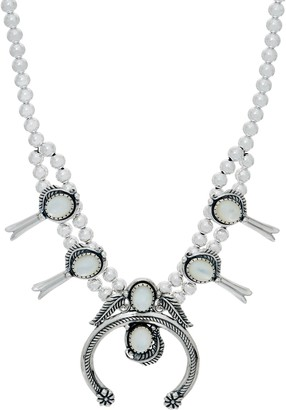 American West Gemstone Squash Blossom Sterling Silver Necklace