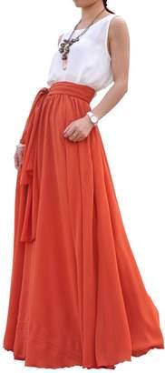 MELANSAY Beatiful Bow Tie Summer Beach Chiffon High Waist Maxi Skirt XL