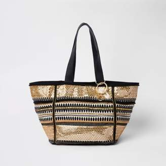River Island Womens Black and gold embroidered metallic beach bag