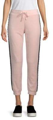 Faux Pearl-Embellished Velour Jogger Pants