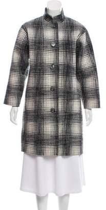 Oscar de la Renta Plaid Knee-Length Coat