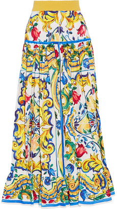 Dolce & Gabbana - Pleated Printed Cotton-poplin Maxi Skirt - Yellow $1,545 thestylecure.com
