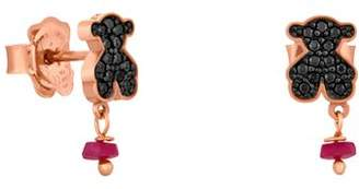 Tous Jeweled Bear Stud Drop Earrings