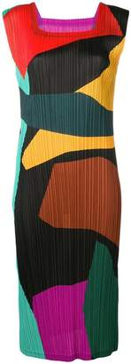 Pleats Please Issey Miyake micro-pleated colour-block dress