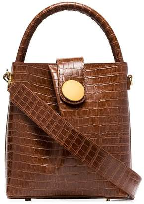 Croco Elleme brown buck leather tote bag