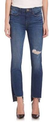 Peserico Le High Distressed Straight Step Hem Jeans