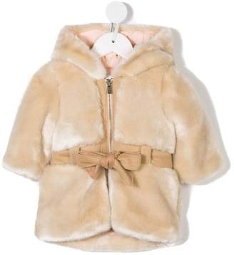 Chloé Kids belted hooded faux fur coat