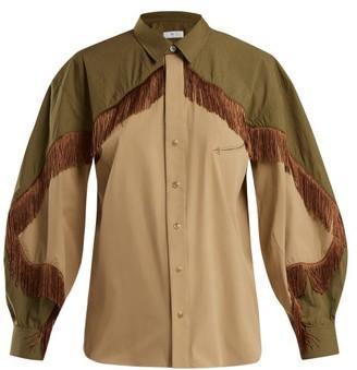 Toga Fringed Cotton Blend Western Shirt - Womens - Khaki
