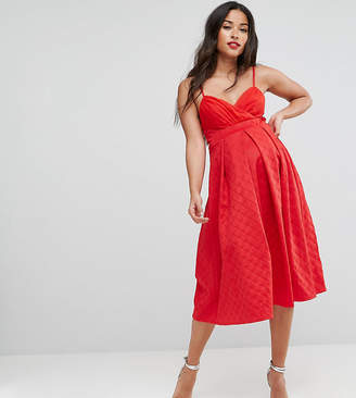 Asos Maternity Scuba Quilted Prom Midi Dress With Gathered Bodice