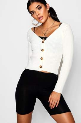boohoo Wide Rib Knit Button Up Cardigan