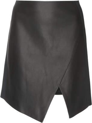 David Koma Asymmetric Leather Mini Skirt