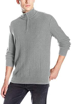 Calvin Klein Men's Mixed Texture Quarter Zip Sweater