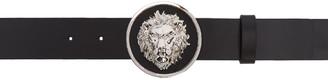 Versus Black Lion Head Belt $225 thestylecure.com