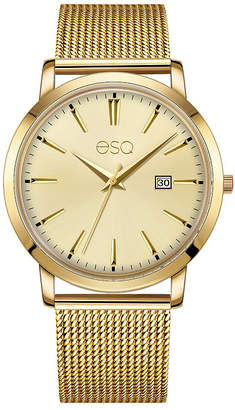 ESQ Men ESQ0042 Domed Crystal Gold Tone Ip Stainless Steel Watch, Matching Dial