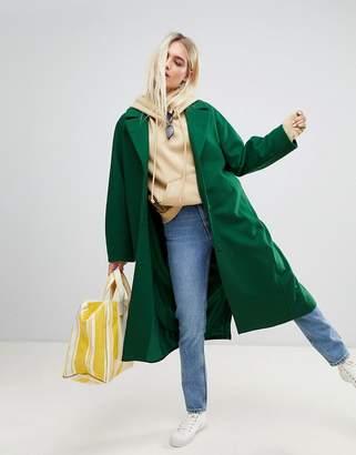 Weekday wool coat in bottle green