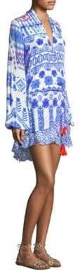 Rococo Sand Printed V-Neck Tassel Dress
