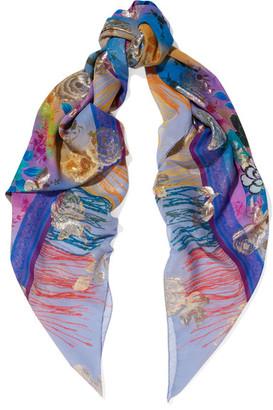 Etro - Printed Silk-blend Scarf - Purple $650 thestylecure.com