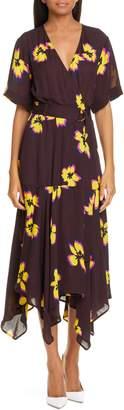 A.L.C. Claire Floral Print Midi Wrap Dress