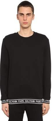 Balmain Logo Band Cotton Jersey Sweatshirt