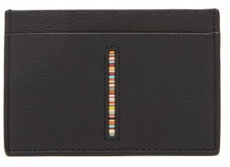 Paul Smith Signature Stripe Leather Card Holder - Mens - Black