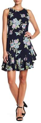 Robbie Bee Embroidered Floral Asymmetrical Ruffle Dress