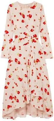Vilshenko Romona Floral-print Silk Crepe De Chine Midi Dress